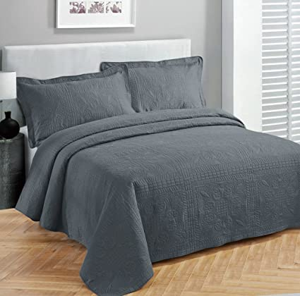 Exceptional Fancy Collection 3pc Luxury Bedspread Coverlet Embossed Bed Cover Solid  Charcoal/dark Grey New Over