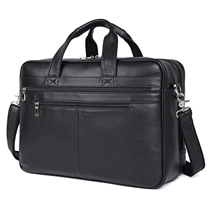 63068becb3d Texbo Men's 17 Inch Solid Genuine Leather Professional Laptop Briefcase  Messenger Shoulder Bag