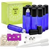 Almondcy 12, 10ml Cobalt Blue Glass Roller Bottles With Stainless Steel Roller Ball for Essential Oil - Include 6 Extra Roller ball, 18 Pieces Labels, Essential Oils Opener, 3ml Dropper
