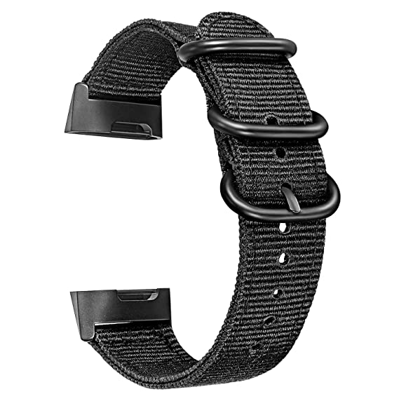 Charge 3 Watchband, TRUMiRR Canvas Nylon Watch Band Sports Strap Stainless  Steel Ring Clasp Wristband for Fitbit Charge 3 & Charge 3 SE Men Women,