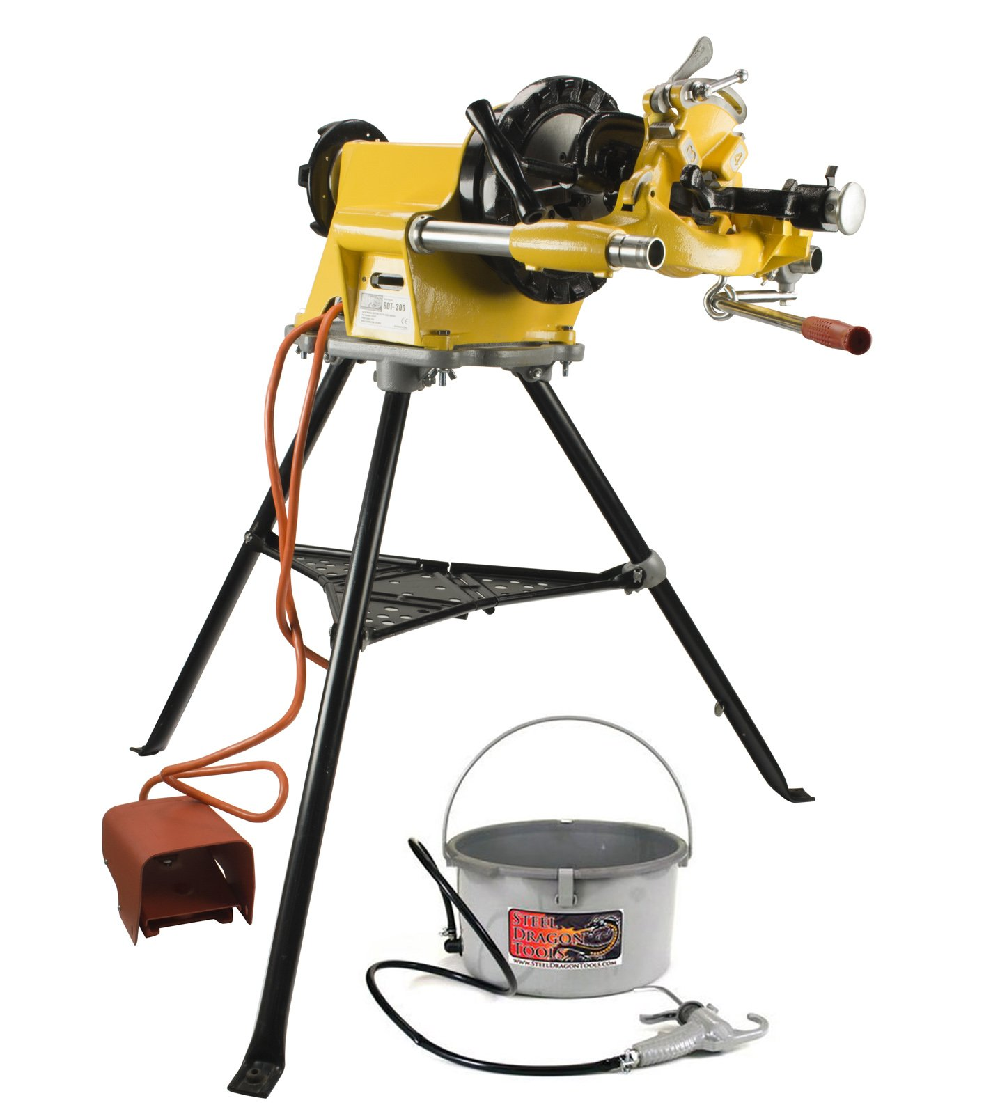 Steel Dragon Tools 300 Pipe Threading Machine Includes 811A Die Head, 418 Oiler, 1206 Stand, fits RIDGID 15682