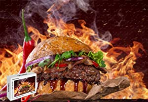 1000 Piece Jigsaw Puzzle - Burger Steak Fire Fast Food Pepper Premium Basswood Materials Bright Color,29.5 X 19.6 Inch