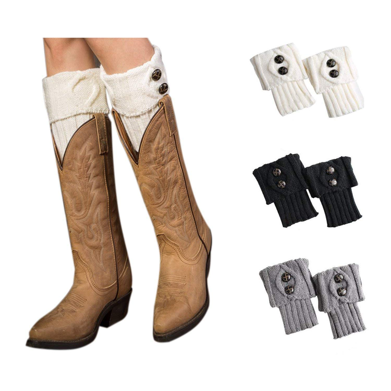 4YOUALL 3 Pairs Womens Short Boot Leg Cuffs, Crochet Knitted Leg Warmers Topper Boot Socks for Women (3 Pairs-Black White Grey)