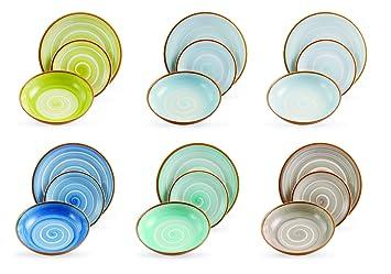 villa deste formentera servizio piatti in dolomite multicolore set di 18 pezzi