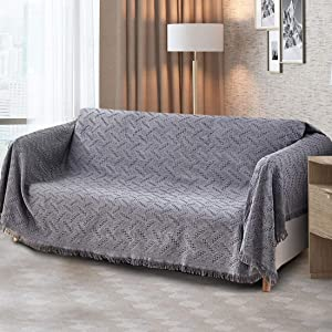 Homcosan Sofa Slipcovers Towel Cover Cotton Knit Geometrical Couch Cover for 2 Seat Cushion Couch Furniture Pet Protector Stylish Throws for Sectional Couch(Grey, Loveseat)