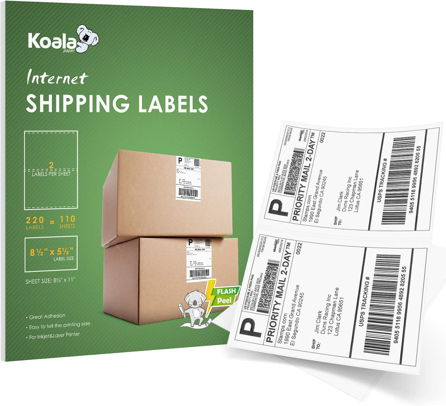 50 Half Sheet 8.5x5.5 Shipping Labels 2 onSheet Self Adhesive LASER PRINTER ONLY