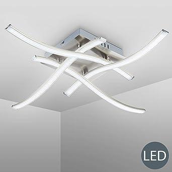 B.K.Licht - Lámpara de techo con 4 placas de luz LED, para ...