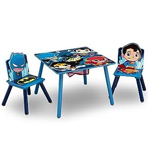 Delta Children Kids Chair Set and Table, DC Super Friends | Batman | Superman | Wonder Woman | The Flash