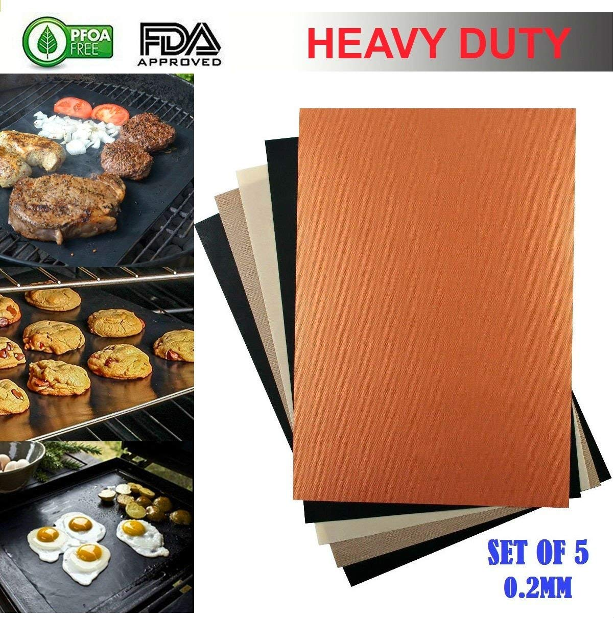 10PCS 0.2MM HEAVY-DUTY BBQ Grill Baking Mats Dazzle Colors Non-Stick Reusable For Years Works On As Oven Baking Pan Liners Or Use On Any Grill Gas Electric Charcoal Grill Sheets (11.8X15.7inch) by Kamay's (Image #2)