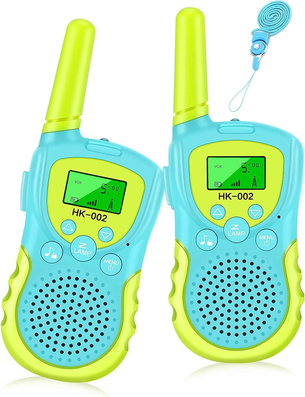 Luclay Regalos para Niños de 3 4 5 6 7 8 9 10 11 12 Años, Walkie Talkie para Niños 8 Canales LCD Pantalla VOX Larga Distancia 3KM,Juguetes para Niños o Niñas Indoor Outdoor Play (Azul)