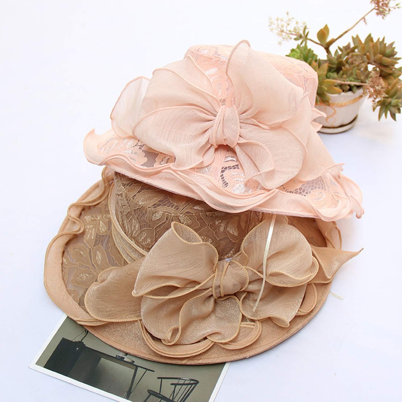 Women Chiffon Lace Flower Bow Wide Brim Sun Cap Lady Outdoor Beach Party Wedding Fedoras Floppy Sunhat Caps