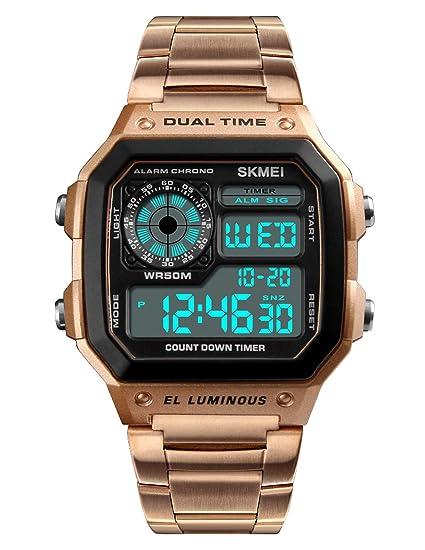 WMA765 - Reloj de Pulsera para Hombre (Resistente al Agua, Pantalla Digital, Alarma, Fecha, Correa de Acero Inoxidable), Color Oro Rosa: Amazon.es: Relojes