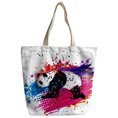 YISUMEI Canvas Shoulder Handbags Messenger Bag Zipper Flamingos Yellow Blue
