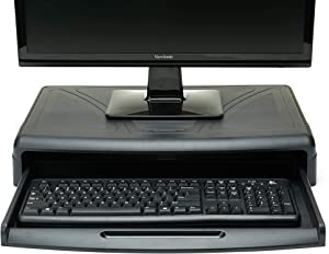 Mind Reader KEYDESK-BLK Stand with Keyboard Desk, Height Adjustable Riser, Durable Sturdy Holder for Computer Monitor, Laptop, PC, MacBook, Black