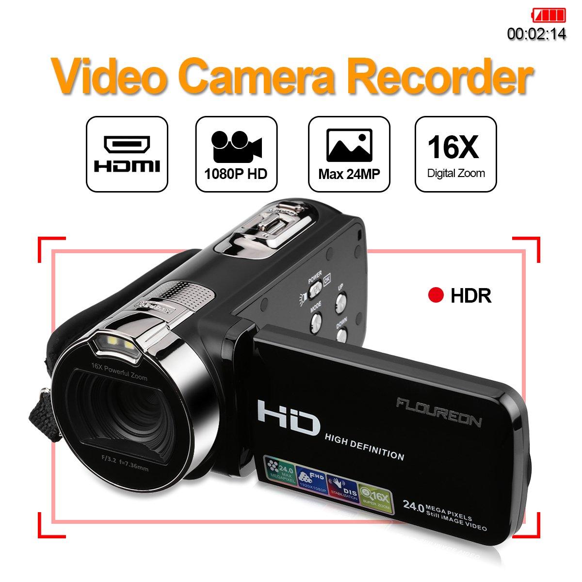FLOUREON 1080P Full HD Portable Camcorder Digital Video Camera DV 2.7 TFT LCD Screen 16x Zoom 270 Degrees Rotation for Sport /Youtube/Short Films Video Recording (1080P DV Camcorder, BLACK) MQ17CFMO