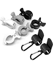 iZoeL Stroller Hooks & Buggy Clip Set 6 Clips Clasps & 2 Hooks Gripper to Hook Muslin Blankets Toys Nursing Cover, Pram Toy Holder, Blanket Clamp (2 black+2 grey+2 white)