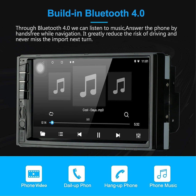EZoneTronics Autoradio st/ér/éo de Voiture /Écran Tactile 7 Android 8.1 1024 x 600 Navigation GPS BT//AM//FM//RDS//USB Quad Core 1 Go RAM 16 Go ROM Miroir Lien Commande au Volant Lecteur multim/édia