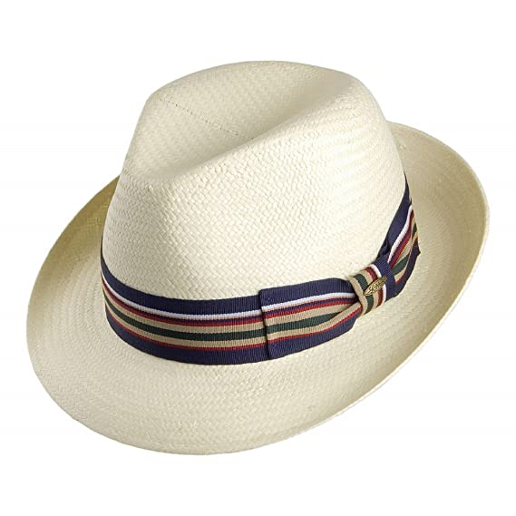 9a13458dbc1a91 Scala Toyo Straw Fedora with Striped Band Ivory X-LARGE: Amazon.co ...