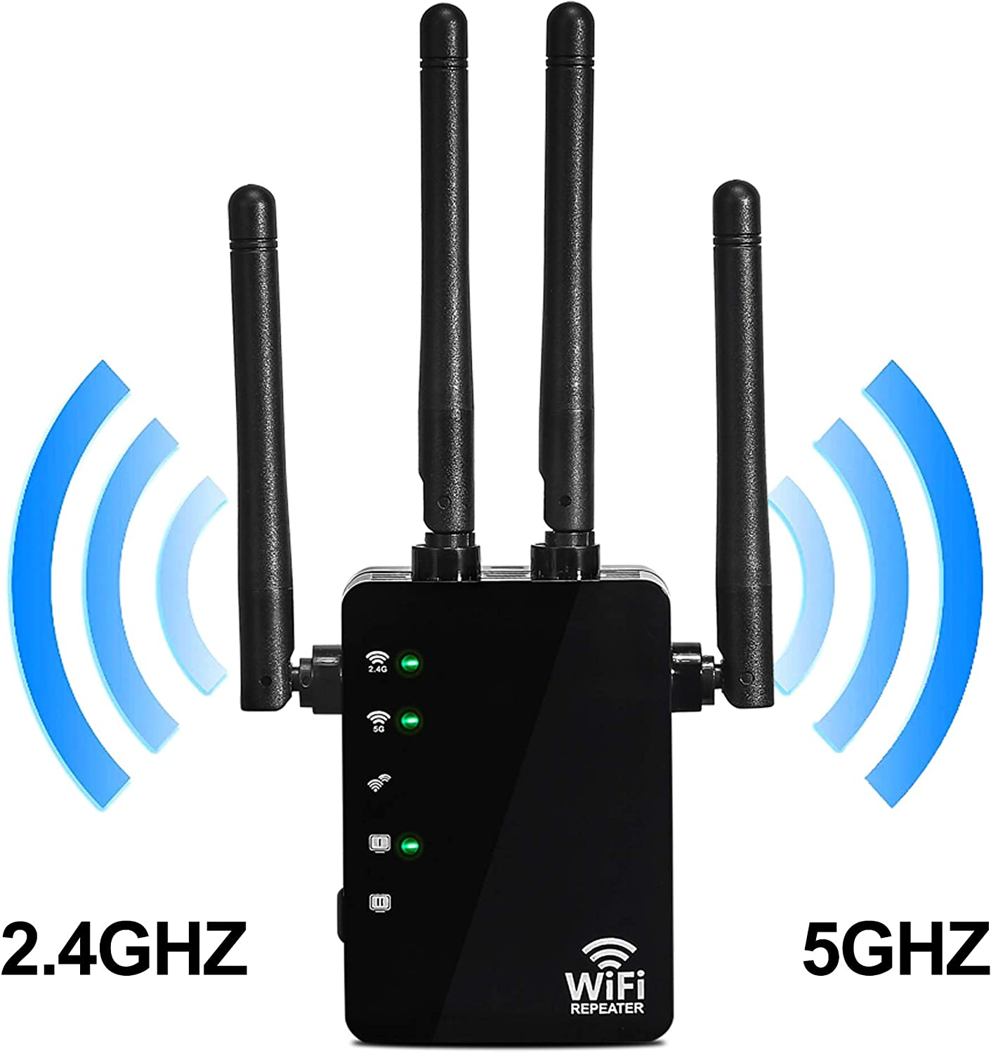 WiFi Rang Extender 5G&2.4G Wireless Repeater 1200Mbps Dual Band Single Booster for Home WiFi Repeater, Internet WiFi Booster, Access Point, with Ethernet Ports 4 External Antennas