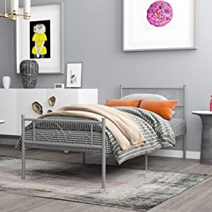 WeeHom Metal Platform Twin Bed Frame for Kids Girls Boys Adults 12.7 Inch Beds Storage Mattress Foundation Steel Slat Guest Room School Apartment Silver