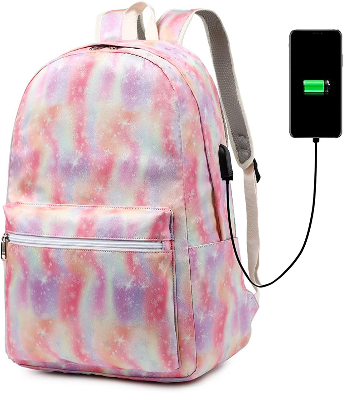School Backpack for Teen Girls Boys Bookbag College Laptop Backpack with USB Charging Port