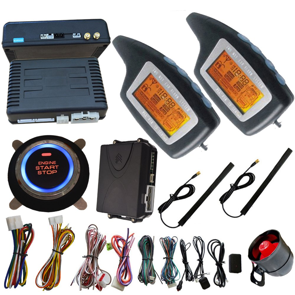 Passive Two Way Car Alarm System With Remote Start Stop Function And Push Start Stop Button