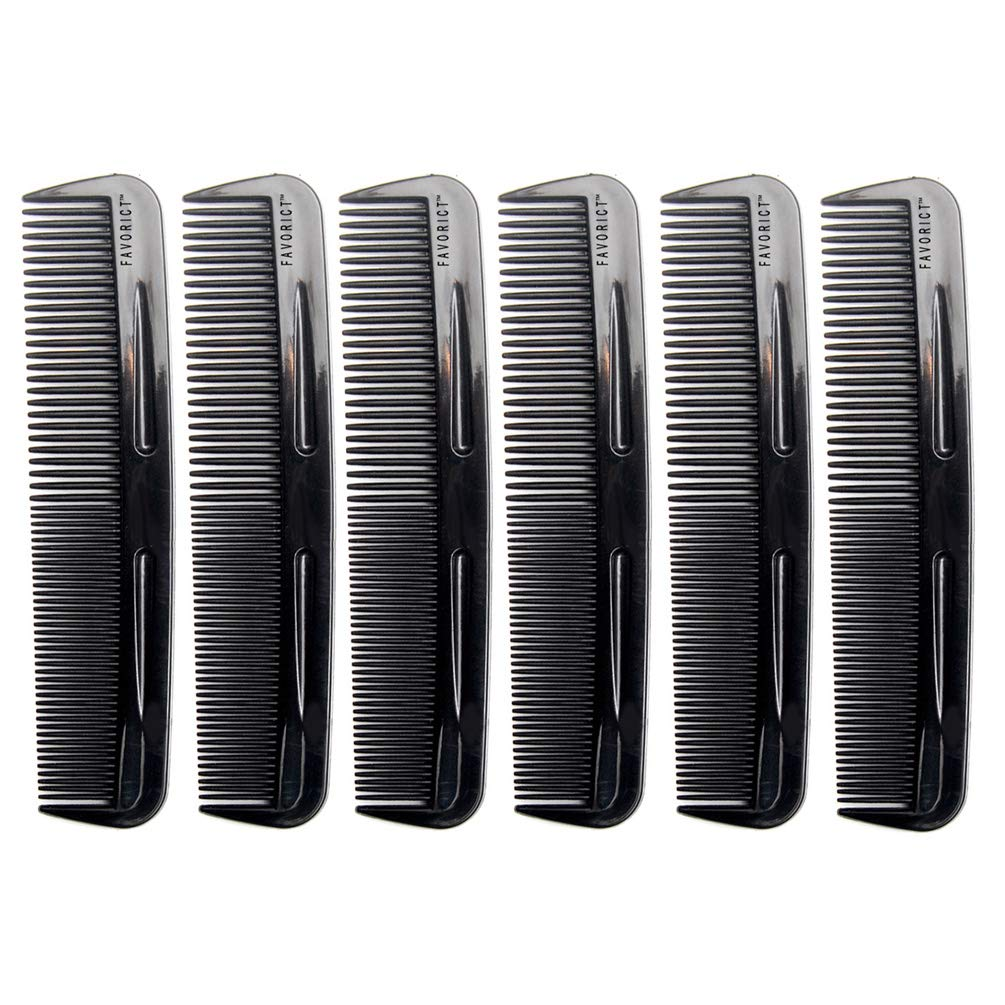 Favorict (6 Pack) 5 Comfortable Pocket Hair Comb Beard & Mustache Combs for Men's Hair Beard Mustache and Sideburns