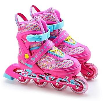 Patines para niños, niñas, patines de 4 ruedas, ajustables, en línea, morado: Amazon.es: Deportes y aire libre