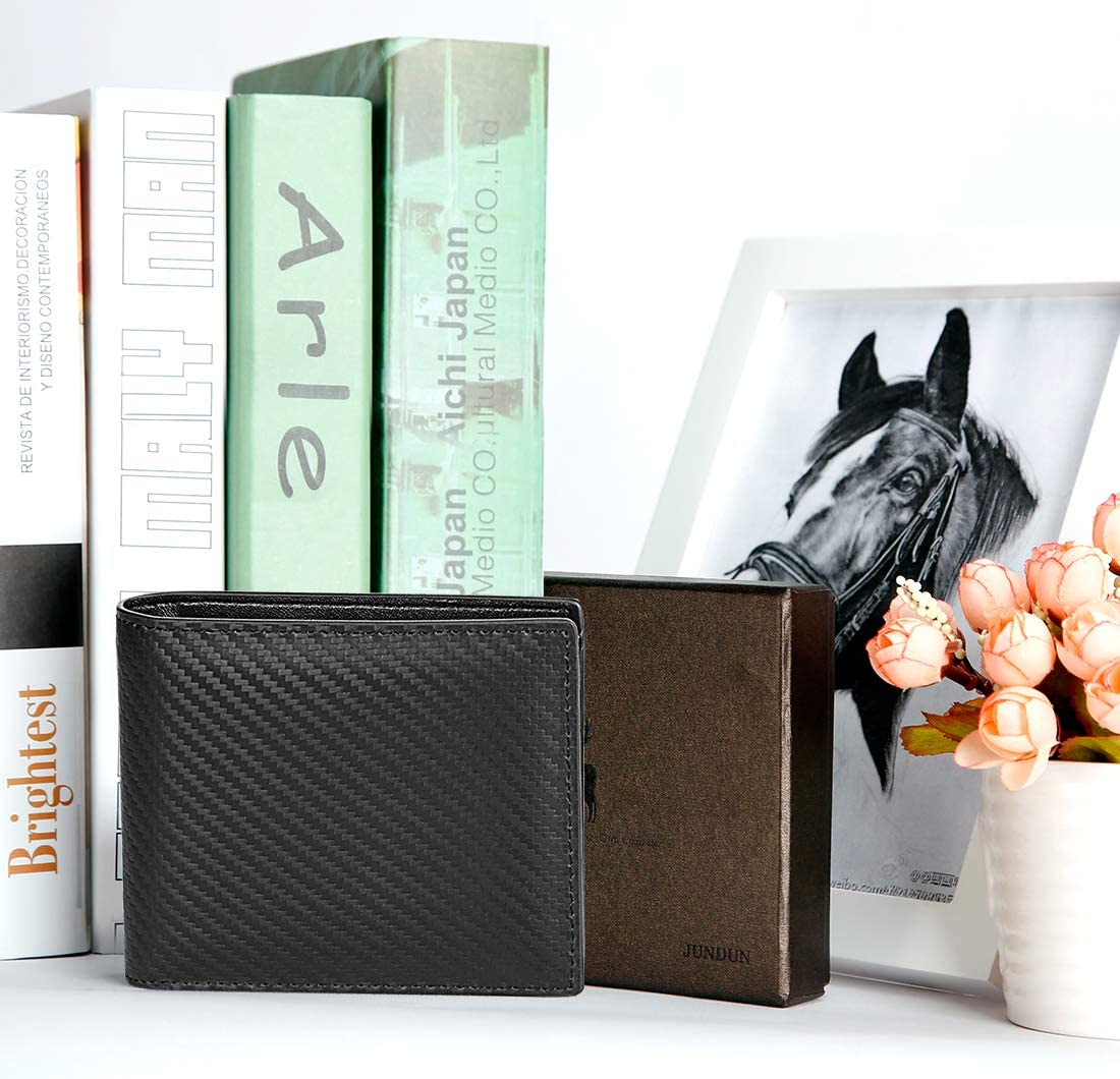 JUNDUN Geldb/örse Herren Echtleder mit RFID Kreditkartenetui Brieftasche Kartenetui Portemonnaie Geldtasche Herren mit Geschenk-Box