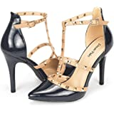 DREAM PAIRS ROCKSTAR-HIGH Women's D'Orsay Style Metal Studs Pointy Pumps Classic Stiletto Heel Shoes New