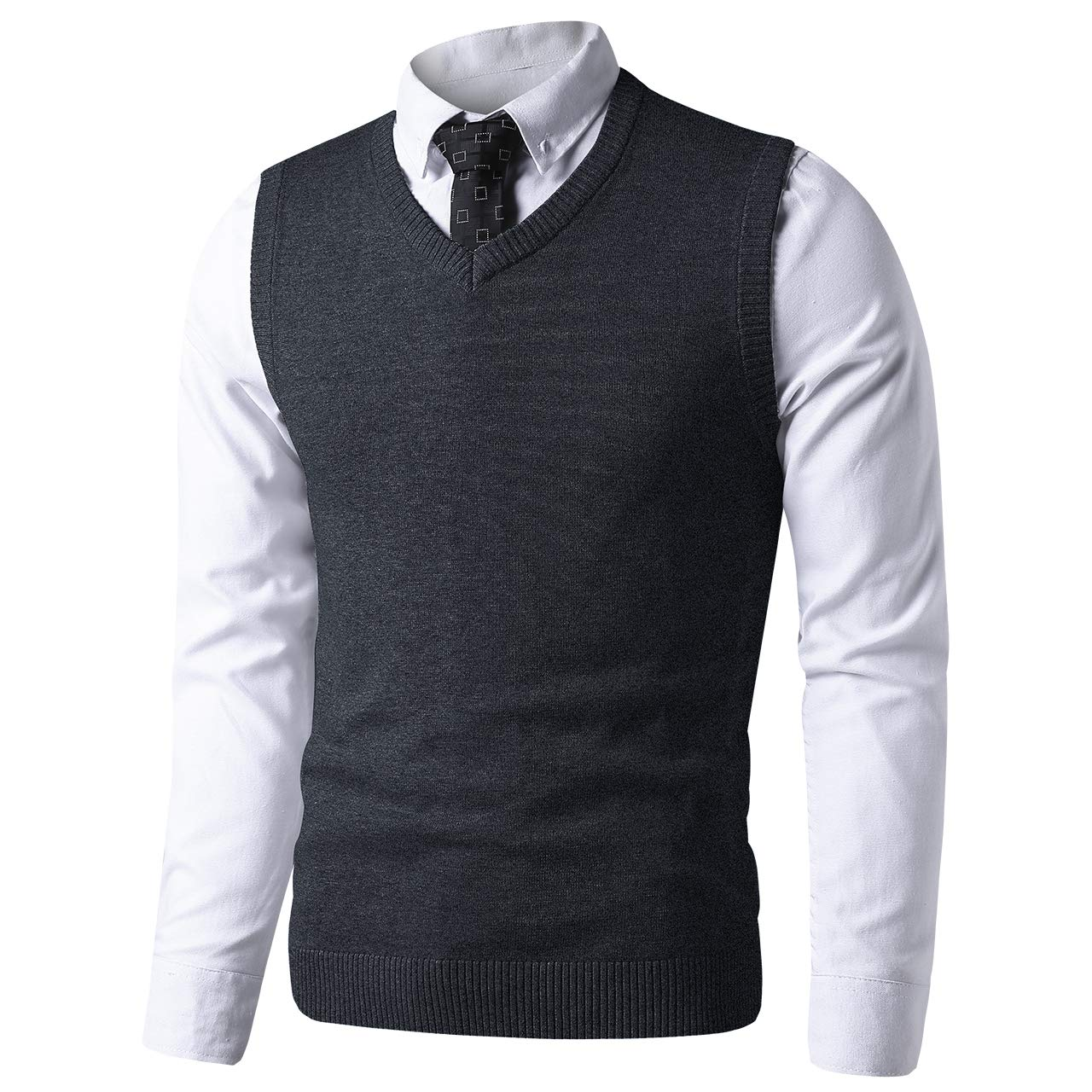 LTIFONE Mens Slim Fit V Neck Sweater Vest Basic Plain Short Sleeve Sweater Pullover Sleeveless Sweaters with Ribbing Edge(Dark Grey,M) by LTIFONE