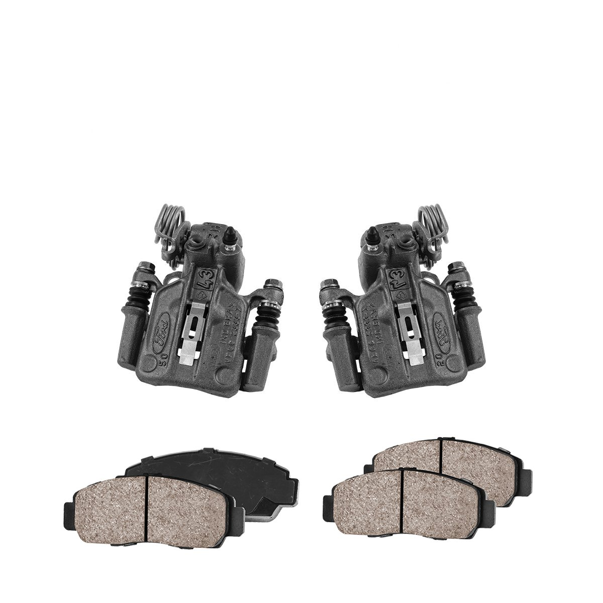 CCK02446 4 REAR Premium Loaded OE Caliper Assembly Set + 2 Quiet Low Dust Ceramic Brake Pads