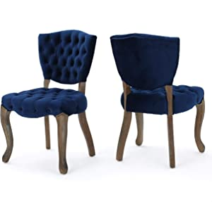 Christopher Knight Home 299874 Bates Tufted New Velvet Dining Chairs (Set of 2), Navy Blue