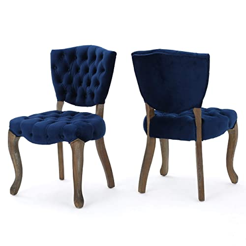 Christopher Knight Home Bates Tufted New Velvet Dining Chairs Set of 2 , Navy Blue