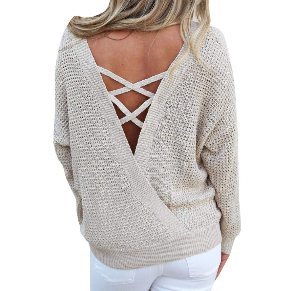 Rambling New Women's Long Sleeve Criss Cross Sexy Backless Casual Loose Knit Pullover Sweaters