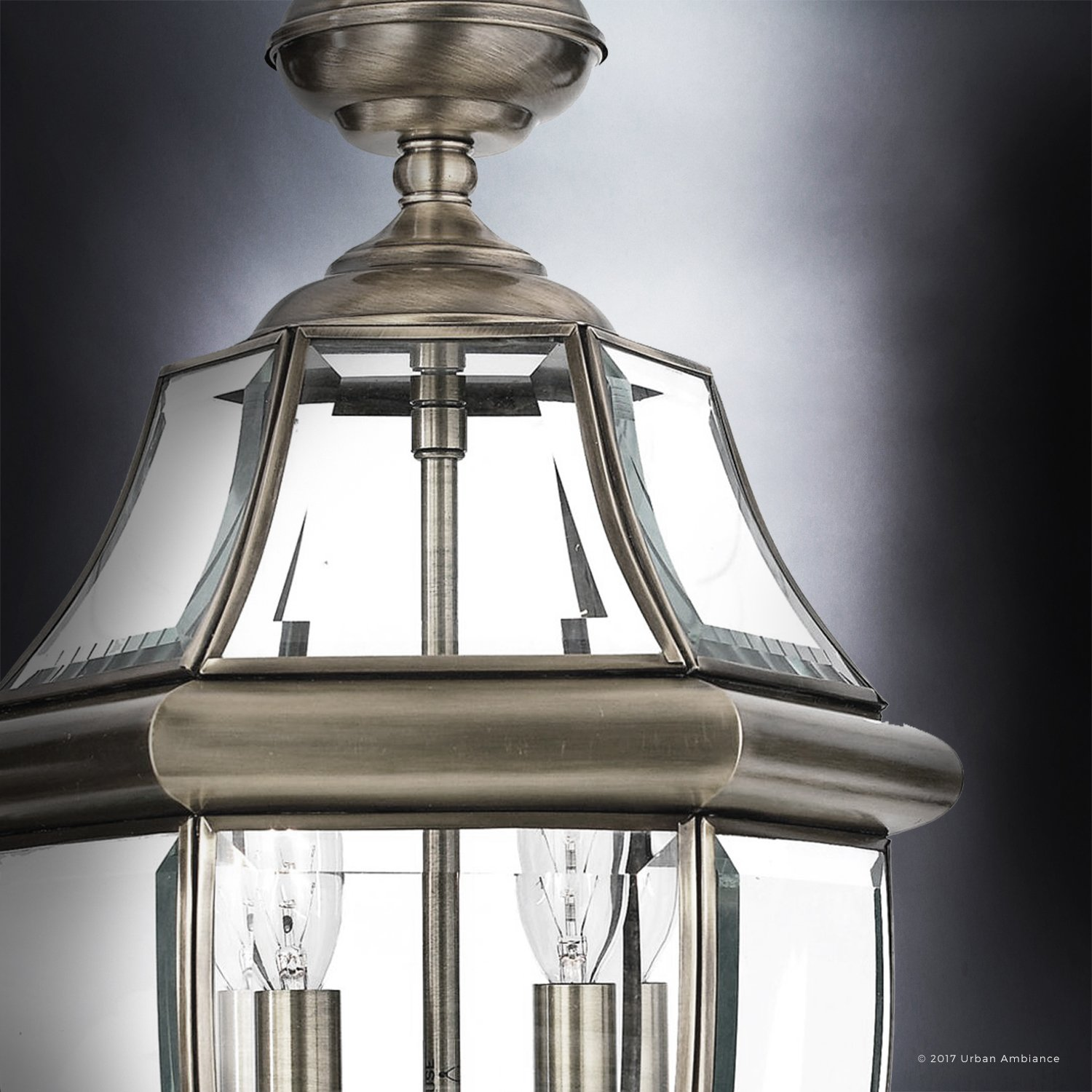 Luxury Colonial Outdoor Pendant Light, Large Size: 19''H x 11''W, with Tudor Style Elements, Versatile Design, Classy Aged Silver Finish and Beveled Glass, UQL1158 by Urban Ambiance by Urban Ambiance (Image #5)
