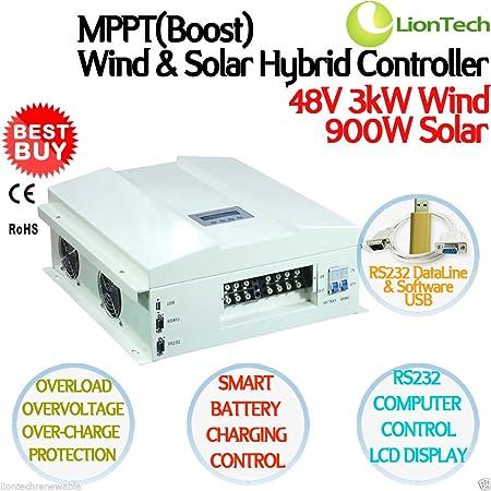 New 3 Kw 48 V 90 A Mppt Boost Wind Solar Hybrid Laderegler 3000 W Wind 900 W Solar Rs232 Pc Smart Control Lcd Display Ce Rohs Küche Haushalt