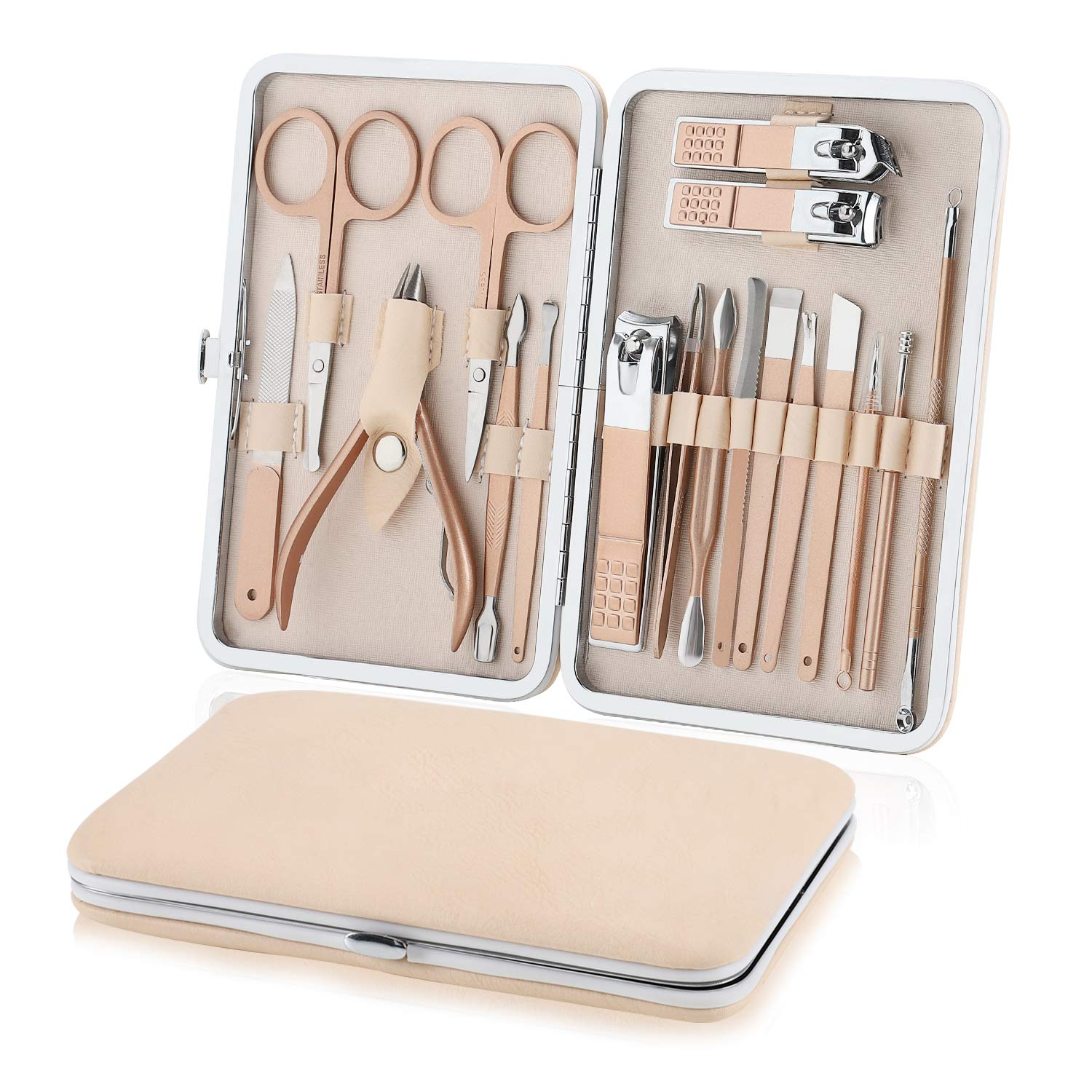 Manicure Set Nail Clippers Pedicure Kit, Professional Rose Gold Stainless Steel Personal Grooming Kit, 18 in 1 Nail Care Tools with Luxurious Leather Travel Case for men and women : Beauty