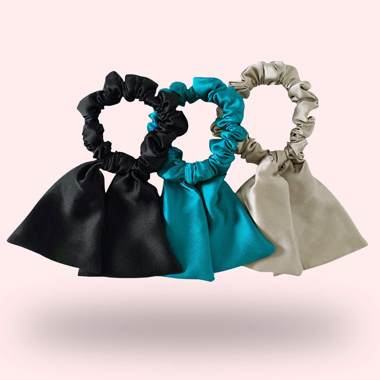 Grey silver blue silk cotton scrunchies velvet knot bow hair elastics ponytail holder gift for her