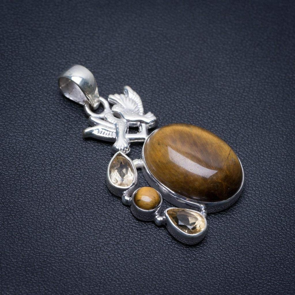 Natural Tiger Eye and Citrine Pigeon Boho Style 925 Sterling Silver Pendant 1 3//4 S0469