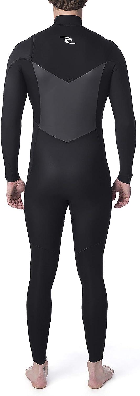 RIP CURL Mens Dawn Patrol Warmth 5//3mm Chest Zip Wetsuit Black Easy Stretch Flash Lining