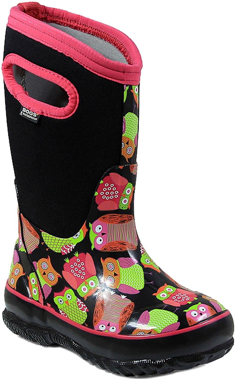 Bogs Kids' Classic High Waterproof Insulated Rubber Neoprene Rain Snow Boot, Owl Print/Black/Multi, 10 M US Toddler