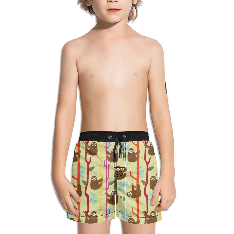 Juliuse Marthar Funny Sloths Fashion Swimming Trunks Short Quick Dry Summer Short for Children