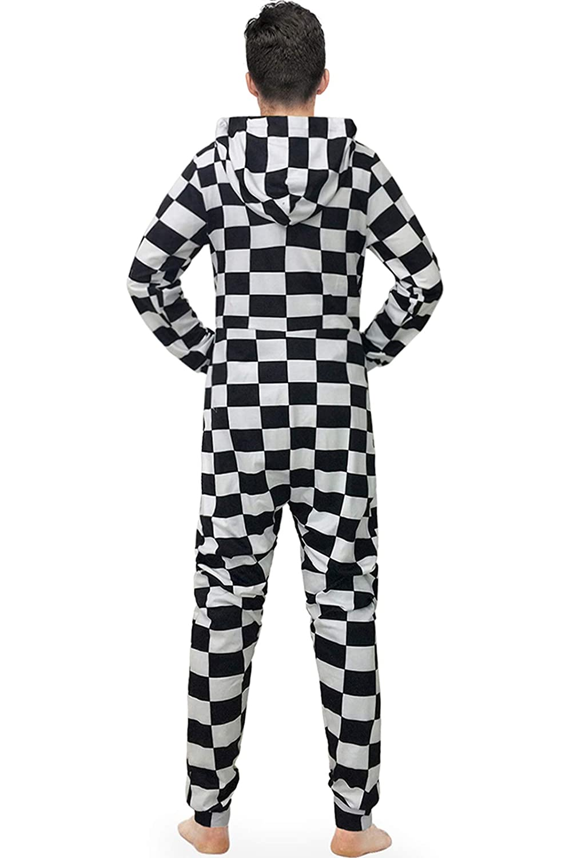 URVIP Mens Playsuit One Piece Jumpsuit Hooded Homewear Loose Fashion Pajamas