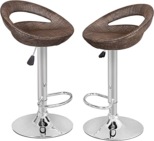 SUPER DEAL Adjustable Pub Wicker Barstool ALL Weather Patio Bar Stool Indoor Outdoor w Gas Lift 25-34 inch, Open Back and Chrome Steel Footrest