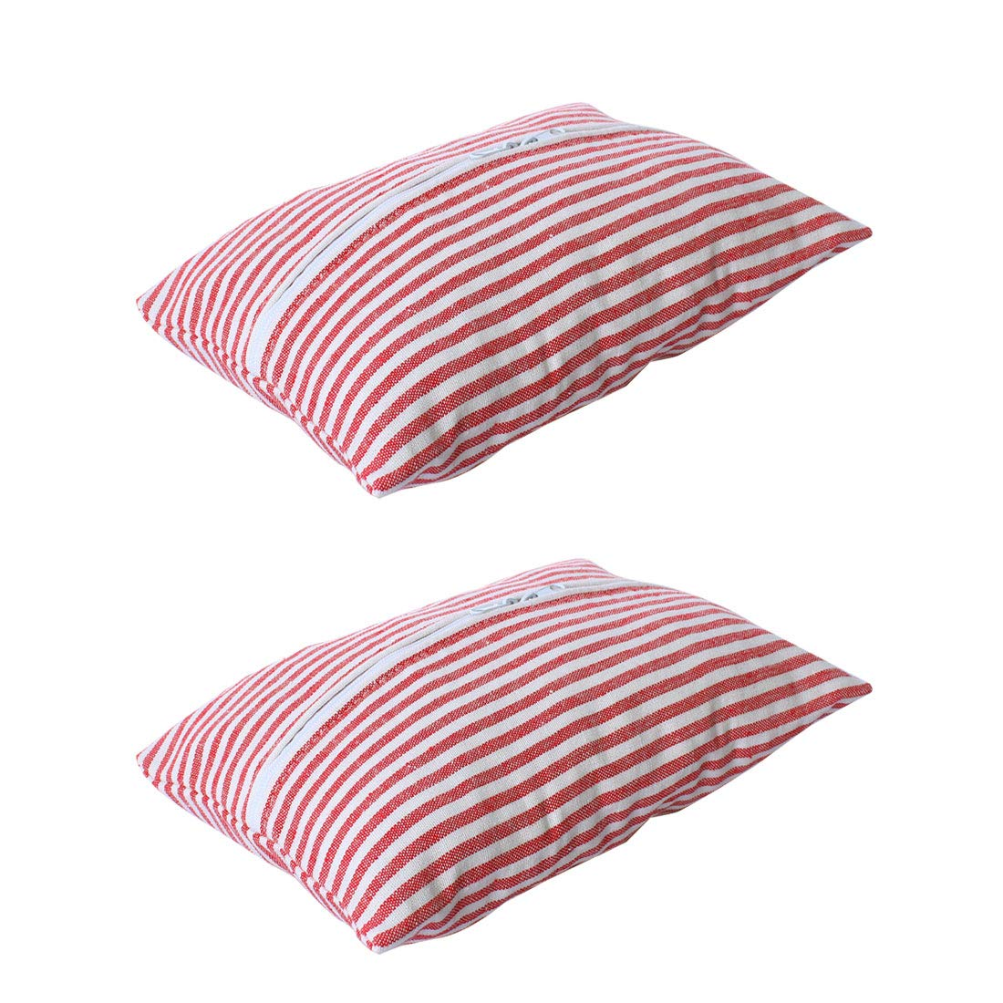 uxcell Tissue Box Container Cotton Linen Rectangle Tissue Holder Paper Storage Bag Organizer Home Decoration Red Stripe 10.2' x 6.7' Set of 2