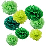 """WYZworks Set of 8 (Assorted Green Color Pack) 8"""" 12"""" 14"""" Tissue Pom Poms Flower Party Decorations for Weddings, Birthday, Bridal, Baby Showers Nursery Décor"""