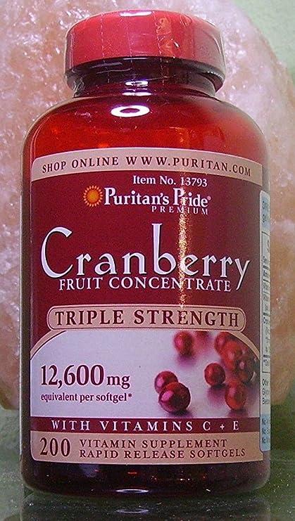 Arándano Rojo Concentrado de triple potencia 12.600 mg con Vitaminas C y E/ 200 Perlas