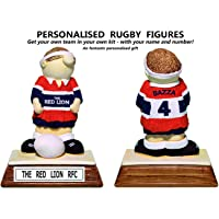 PERSONALISED Amateur / Local / Junior Rugby figure – hand painted in your team's very own kit colours ...with your own name and number on the shirt ! Birthday / Anniversary / Fathers Mothers Day / Retirement / Leaving / Christmas (Gift Boxed)