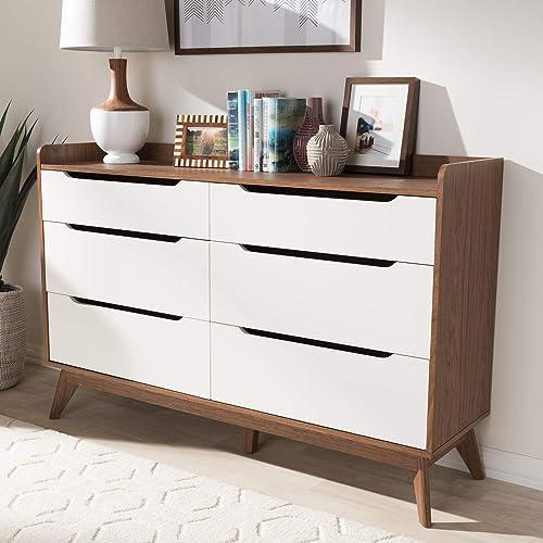 Baxton Studio Brighton 6-Drawer Storage Dresser Mid-Century/White/Walnut Brown/Particle Board/MDF
